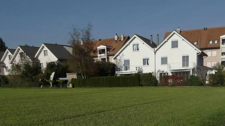 Auf diesem Land (Teilansicht) vor den Wohnhäusern, soll der Reit- und Handelsstall Mettauer in Gipf-Oberfrick neu aufgebaut werden.