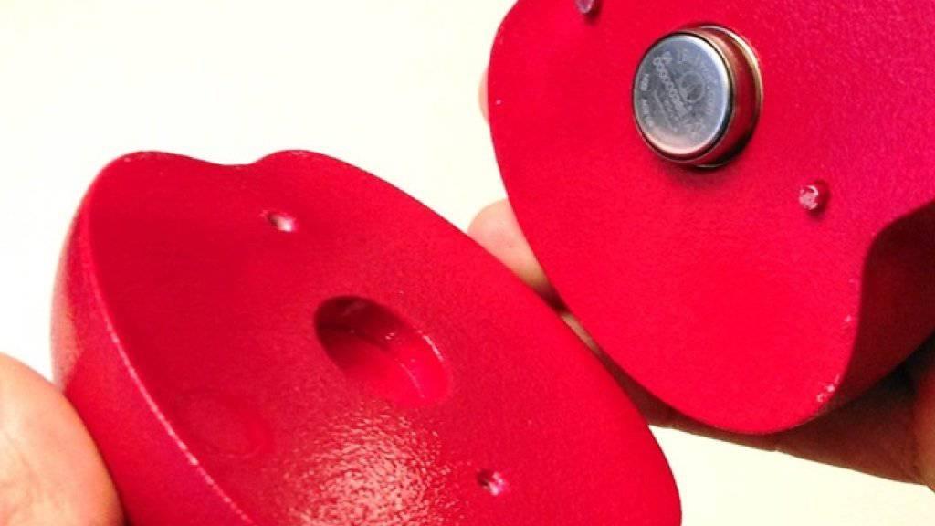 Der Sensor im Inneren der Kunstfrucht sammelt während des Obsttransports Temperaturdaten. Die abgebildete Version ist für Ladungen der Apfelsorte Braeburn gedacht.