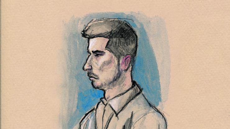 Gerichtszeichung von Thomas N. bei der Urteilsverkündung am Freitag.