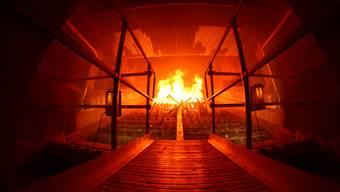 Die Kehrichtverbrennungsanlage Buchs arbeitet (noch) mit der sogenannten Cladding-Technologie. (Blick in den Brennofen)
