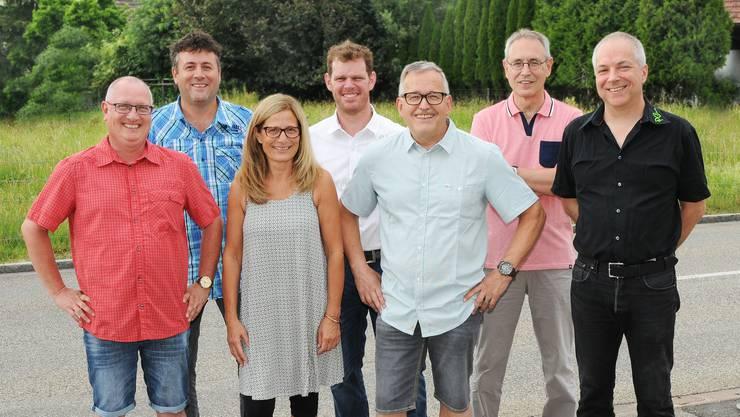Der Gemeinderat der Amtsperiode 2017-2021 präsentiert sich mit einem neuen Mitglied: (von links) Kurt Spielmann, Daniel Cartier, Monika Eicher, Beat Tännler, Walter Schärer, Christoph Wernle (neu), Werner Ramel.