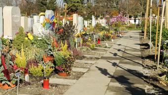 Grabschmuck und Winterbepflanzung auf dem Friedhof am Hörnli bei Basel