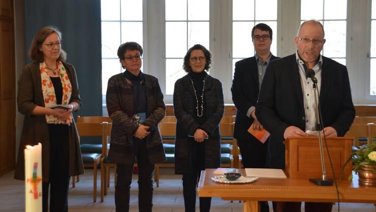 Die neue reformierte Kirchenpflege von Frick: Christine Wondrusch, Silvia Guhl Lawson, Jacqueline Costa-Senn, Christoph Möri und Simon Plattner (von links).