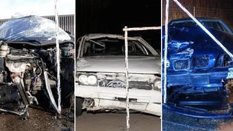 Gleich drei Fahruntüchtige verschrotteten letzte Nacht ihre Autos. (Symbolbilder)