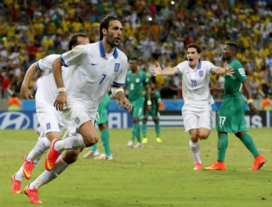 Samaras jubelt über seinen Treffer in allerletzter Sekunde
