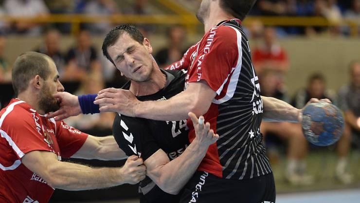 Uros Mitrovic (Mitte) sorgte in der zweiten Halbzeit für die Wende zu Gunsten von Bern Muri