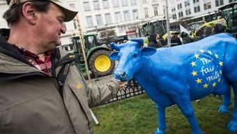 Milchbauern demonstrieren auf der 'Place du Luxembourg'
