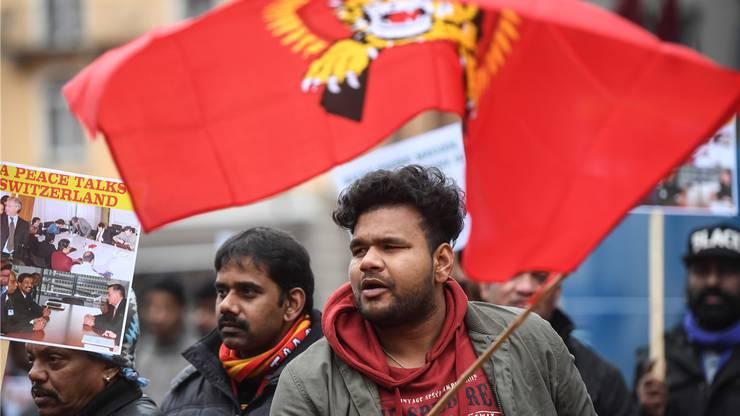 Anhänger der Tamil Tigers demonstrierten im Januar vor dem Bundesstrafgericht.