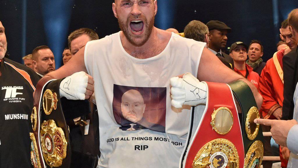 Tyson Fury im November 2015 nach seinem gewonnenen WM-Kampf gegen Wladimir Klitschko