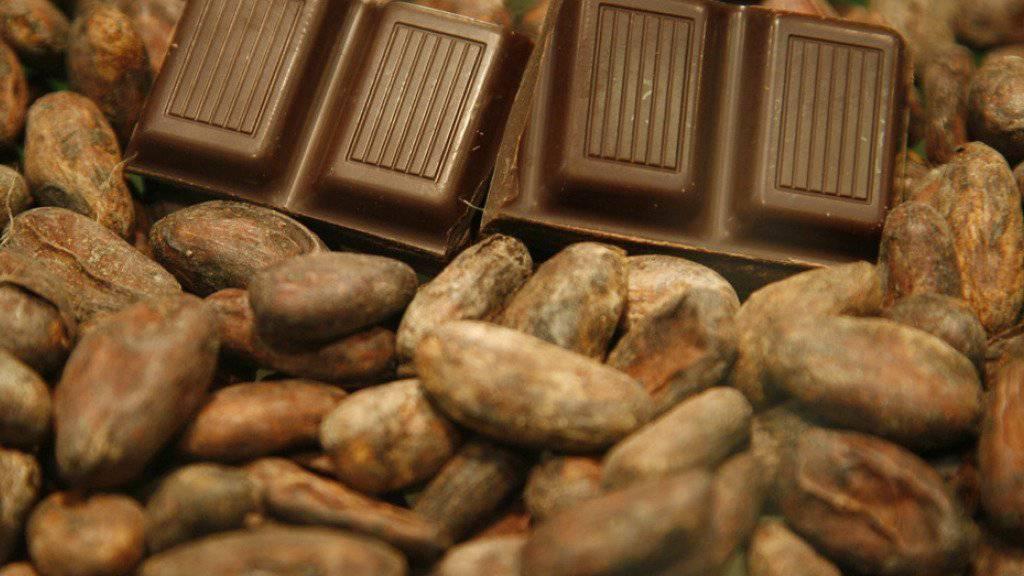 Schokolade auf Kakaobohnen. Der Mann soll mehrmals Schokolade gestohlen haben (Symbolbild)