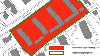Vorgesehen ist, das Areal «Am Rain» von der dreigeschossigen Wohnzone W3 in die Zone W4 mit Gestaltungsplanpflicht umzuzonen.