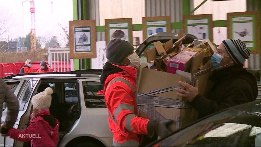 Grosser Ansturm nach den Festtagen: Recyclingstationen werden überrannt
