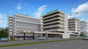 Noch ist an dieser Stelle in Spreitenbach eine Autowaschstrasse, bald steht hier ein Hotel.