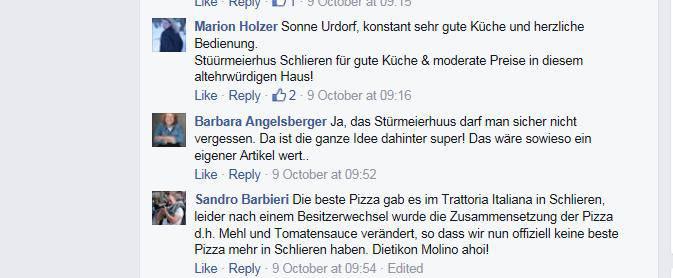 Restaurant-Empfehlungen der Limmattaler auf Facebook.