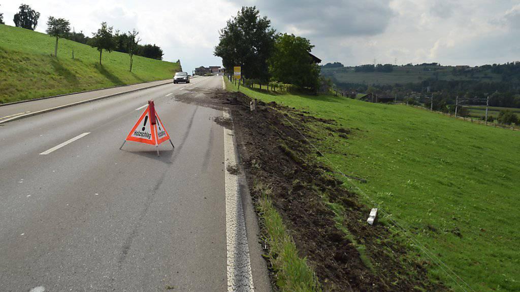 Einen Landschaden hat ein unbekannter Lastwagen-Fahrer in Honau LU angerichtet.