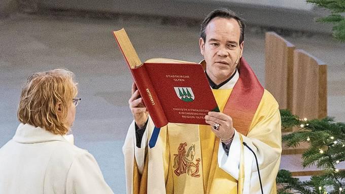 War einer seiner letzten Gottesdienste: Kai Fehringer am Weihnachtstag in der Oltner Stadtkirche.