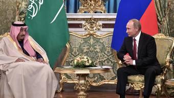 Russlands Präsident Wladimir Putin und der saudi-arabische König Salman bin Abdelasis al-Saud am Donnerstag in Moskau.