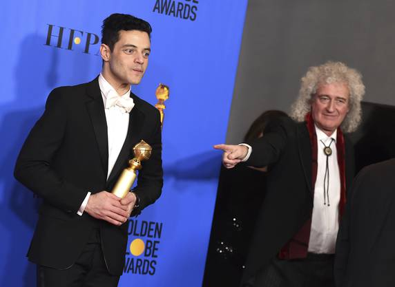 Rami Malek (links), der Freddie Mercury verkörperte, sahnte auch den Preis als bester Schauspieler in einem Filmdrama ab.