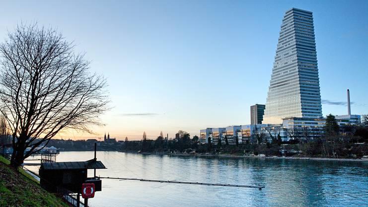Der Roche-Turm und sein weisser Riegel: Die Gebäude an der Wasserfront sollen abgerissen werden, es entsteht ein Park.
