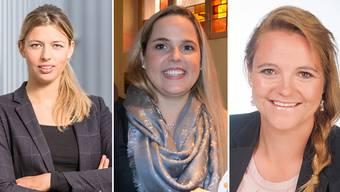 Karin Bertschi, Martina Bircher, Stefanie Heimgartner (von links): drei potenzielle SVP-Nationalrätinnen.