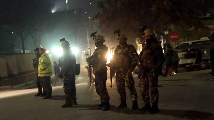 Soldaten in der Nähe der spanischen Botschaft in Kabul.