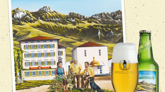 Eine Bierwerbung von Appenzeller Bier zeigt Personen, die zwei Mitgliedern des Bundesrates verblüffend ähnlich sehen.