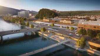 So könnte der neue Bahnhofplatz dereinst aussehen: Kritisiert wird unter anderem das neue Perrondach beim Gleis 1.