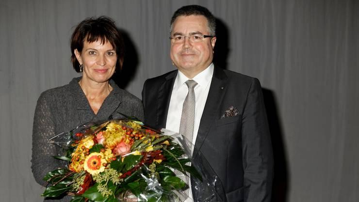 Viel Prominenz aus Politik und Wirtschaft:  Bundesrätin Doris Leuthard mit Kurt Lüscher (CEO von Energie 360°)