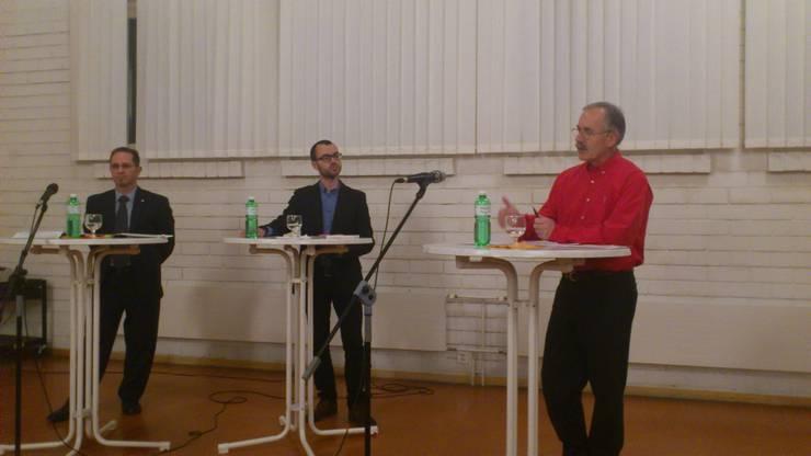 v.l. Carlo Rüsics (SVP), Christof Ramser (Solothurner Zeitung) und Stefan Hug (SP)