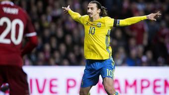 Mit Schweden an der EM 2016 dabei: der Captain und zweifache Torschütze Zlatan Ibrahimovic