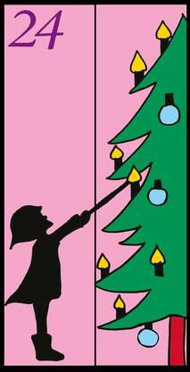 Zum Abschluss des Adventskalenders gleich drei Bilder. Hier zündet ein Mädchen die Kerzen am Weihnachtsbaum an.