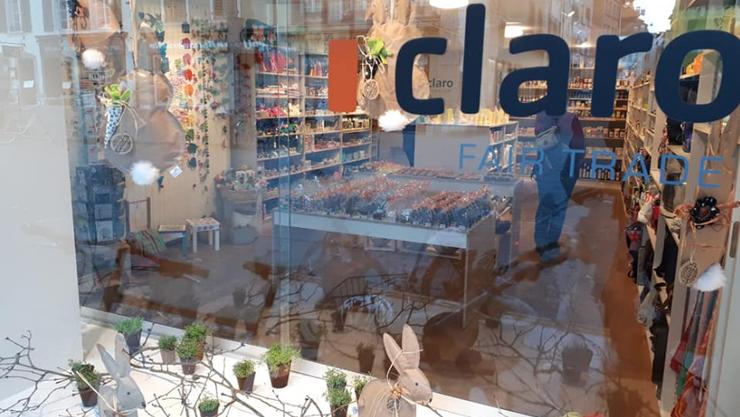 claro Weltladen Osterschaufenster 2019
