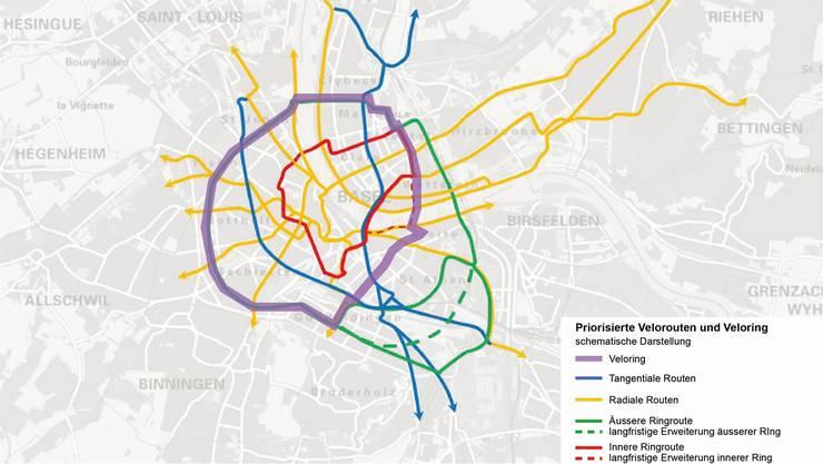 Der lila Ring um die Stadt soll Velofahrern sichereres und schnelleres Vorankommen gewährleisten. Grafik Amt für Mobilität