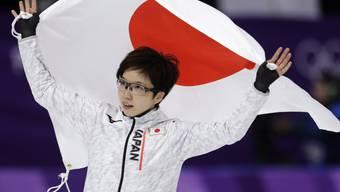 Die 31-jährige Japanerin Nao Kodaira feiert ihren Olympia-Triumph über 500 m