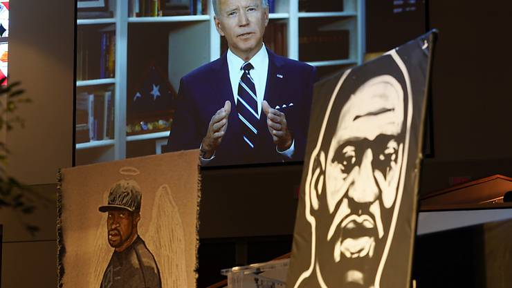 Der demokratische US-Präsidentschaftsbewerber Joe Biden in seiner Videobotschaft anlässlich der Beerdigung von George Floyd.