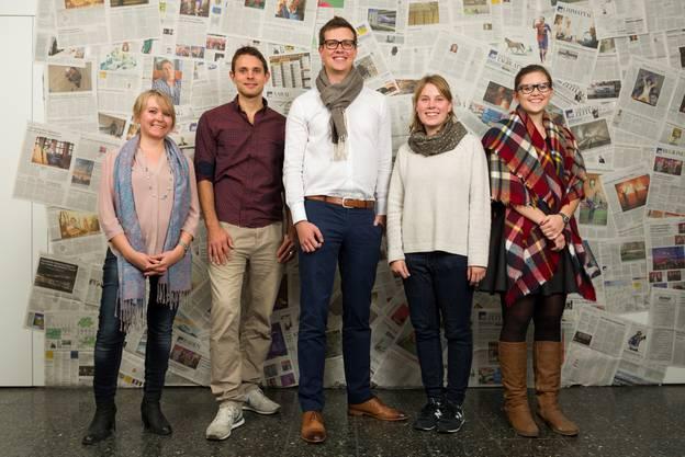 (v.l.): Linda Kleiner (Einwohnerrats-Präsidentin Lenzburg), Manuel Stettler (Fotograf), Thierry Rietsch (CEO Konoma GmbH), Sinja Clavadetscher (Rotes Kreuz), Anika Fontana (Schülerorganisation Baden).