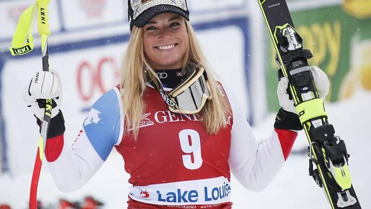 Erfolgreiches Wochenende für Lara Gut: Dem 2. Rang in der Abfahrt vom Samstag liess sie tags darauf ihren 20. Weltcupsieg folgen.