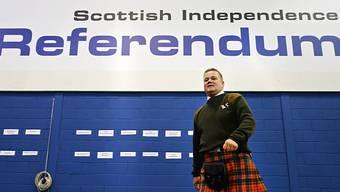 Ein Schotte im Kilt anlässlich der letzten Abstimmung im September 2014.