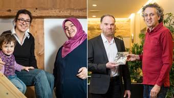 Freunde trotz religiöser Spannungen: Deborah Sommerhalder und Zulejha Serifi (mit Kopftuch) und Kaser Alasaad und Ron Halbright (mit rotem Hemd).