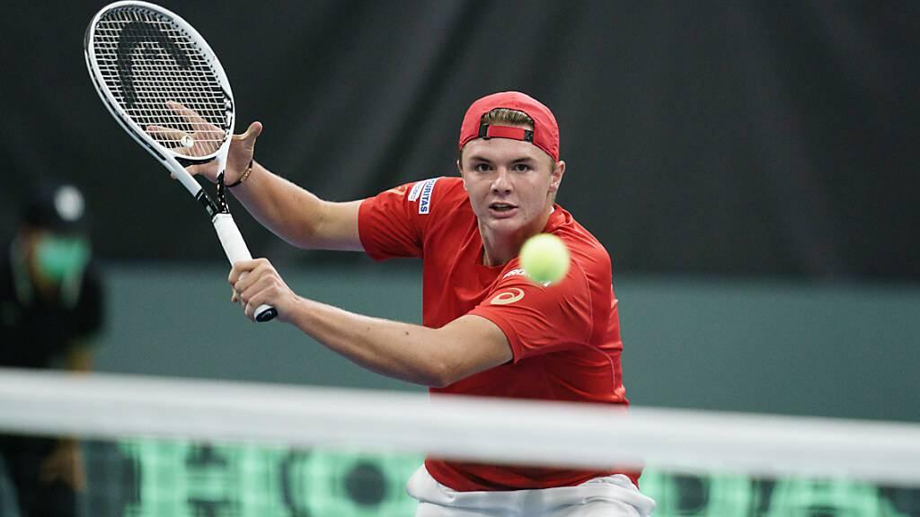 Nerven in den Griff gekriegt und Aufgabe souverän gemeistert: Dominic Stricker gewinnt bei seinem Debüt im Davis Cup in Biel