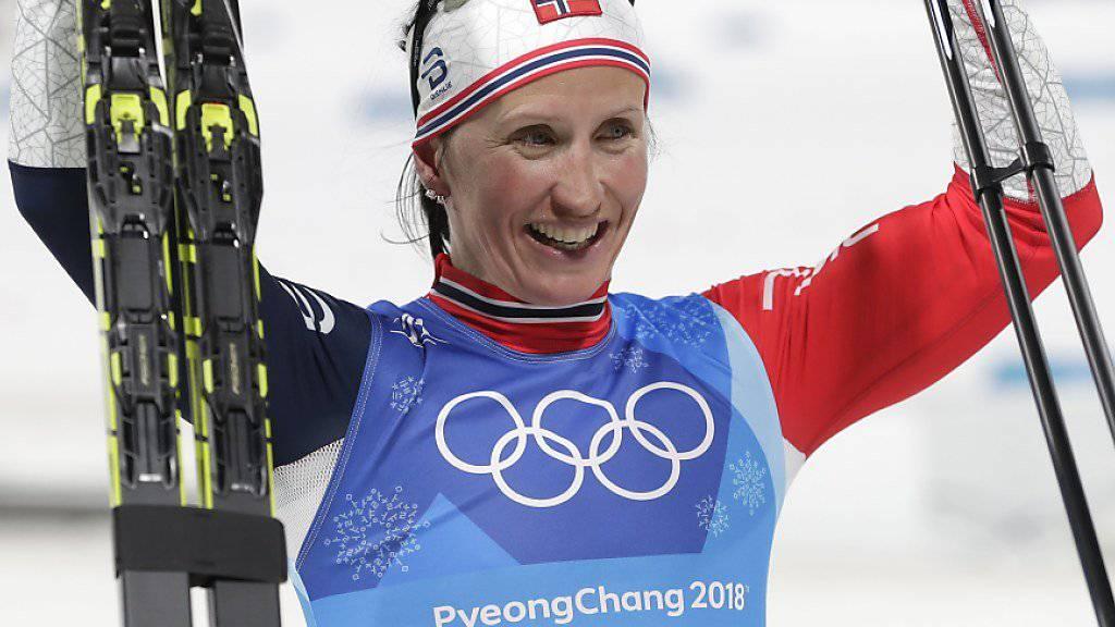 Wäre mit Gold im Teamsprint die erfolgreichste Winter-Olympionikin aller Zeiten: Marit Björgen