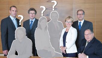 Von den sieben Bisherigen treten in Münchenstein drei nicht mehr an. Von links: Stefan Friedli (Geschäftsleiter), Felix Bossel und Lukas Lauper (beide SP), Christine Frey (FDP), Jürg Bühler (Komitee Pro Münchenstein), Heidi Frei (FDP), Gemeindepräsident Giorgio Lüthi (CVP) und René Nusch (SVP).