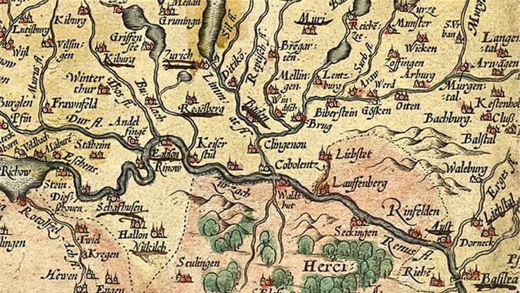 Der Ausschnitt der nach Süden ausgerichteten Tschudikarte von 1538 zeigt das Fricktal, den Aargau und deutsche Gebiete.