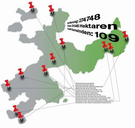 Welches ist die nördlichste Gemeinde im Kanton? Welches ist die Kleinste? Wo liegt der tiefste Punkt? Einige Fakten zum Kanton in der Grafik.