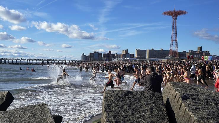 Einige Mutige sprinten am traditionellen Neujahrsschwimmen in New York vor der Gruppe ins kalte Wasser.