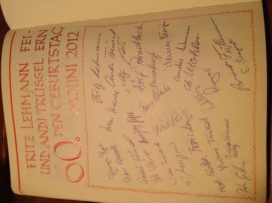 Die eingeladenen Gäste.Alle mit ihrer Unterschrift.