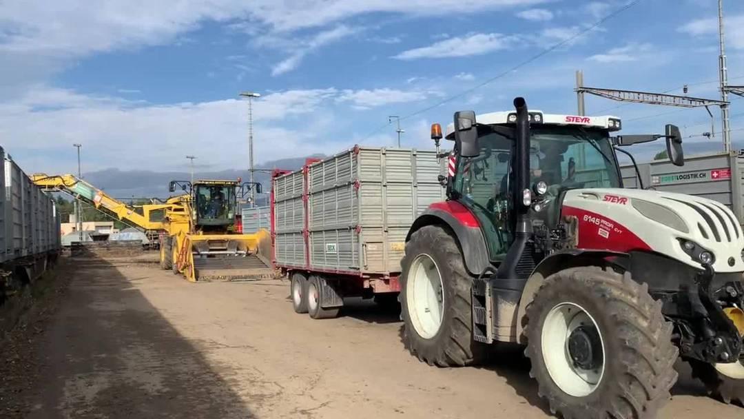 20 Tonnen Zuckerrüben auf die Schienen