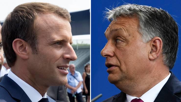 Der liberale Emanuel Macron (links) und der konservative Victor Orbán.