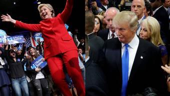 Zwei Bilder, die den Verlauf der ersten TV-Debatte perfekt wiederspiegeln:Clinton feiert sich etwas hölzern, Trump trottet ratlos davon.