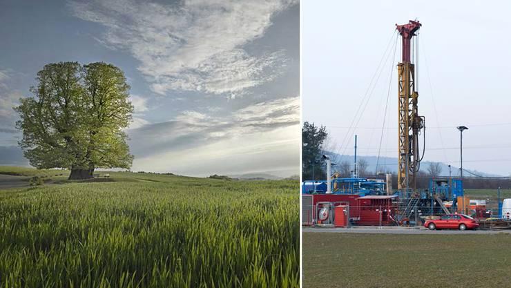 So wie hier beim Geothermieprojekt in Schlattingen TG könnte ein Bohrplatz auch auf dem Bözberg aussehen - unweit von der Linner Linde.
